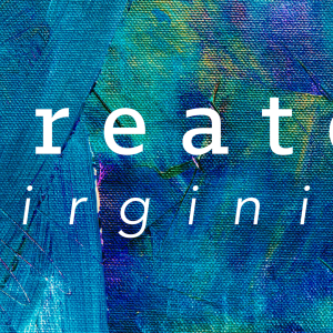 The Create Virginia logo on a blue and green abstract painting